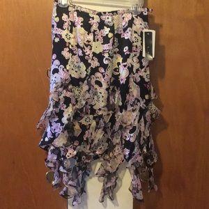 NWT Floral 100% Silk ECI New York skirt. 2 Petite